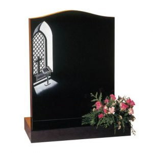 EC38 Black granite with etched church window design