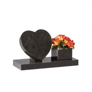 EC243 Dark grey granite heart on riser with side vase