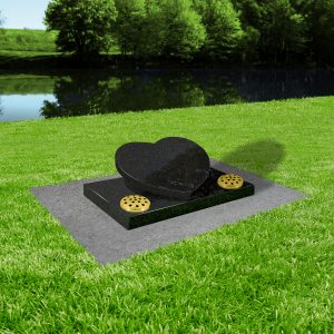 Black granite with concrete base at thornhill memorials masons of grave and cremation stones cardiff MS364