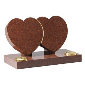 Ruby Red granite double heart with gilded line