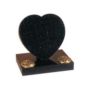 Star galaxy granite heart with two flower containers