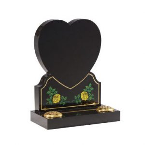 Black granite with etched hand painted heart with roses design. Any colour can be used