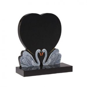 Black granite with two etched and painted swans together