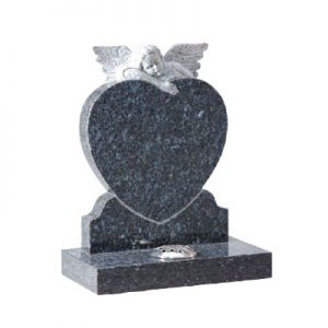 Blue Pearl granite with hand carved angel on heart