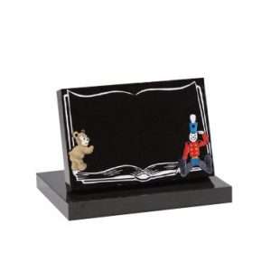Black granite with 'bear and soldier' ornament. Any character can be added