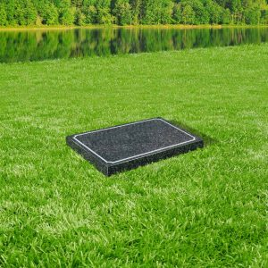 Indiana dark grey granite tablet memorial mounted on grass
