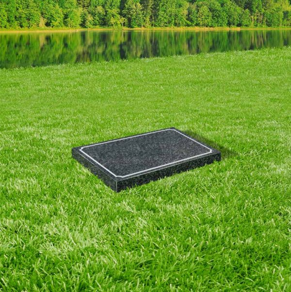 Indiana dark grey granite tablet memorial mounted on grass