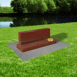Red granite with concrete base at thornhill memorials masons of grave and cremation stones cardiff MS366