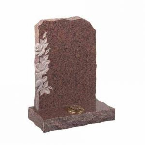 EC72-Balmoral-Red-granite-with-carved-roses-on-left-thornhill-memorials