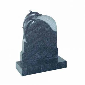 EC73-Bahama-Blue-granite-with-carved-dolphin-on-a-wave-thornhill-memorials